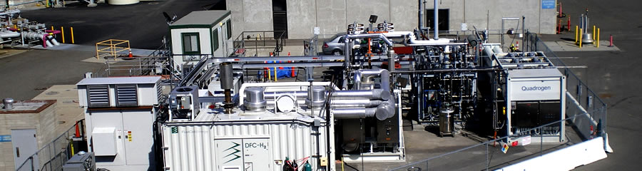 A recently installed biogas clean-up unit at an Orange County waste water treatment plant in California for a project that generates renewable power, heat, and hydrogen.